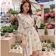 Women-Summer-Print-Chiffon-Sweet-Dress-A-Line-Casual-Office-Half-Sleeve-Ruffles-Dress-Empire-V