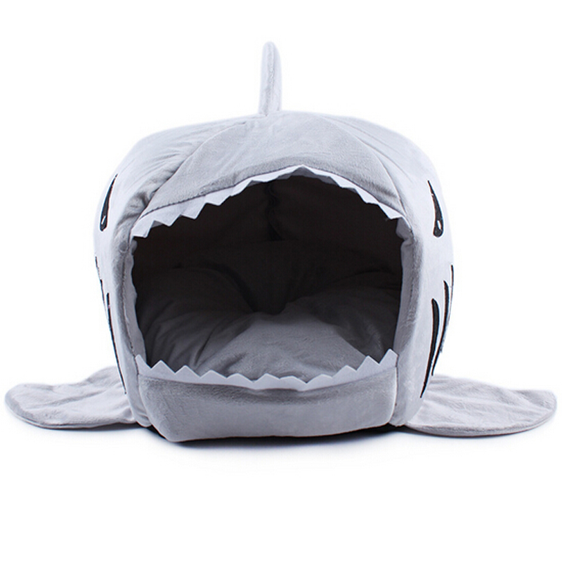 Hot Size S M Pet Products Warm Soft Dog House Pet Sleeping Bag Shark Dog Kennel Cat Bed Cat House Free shipping