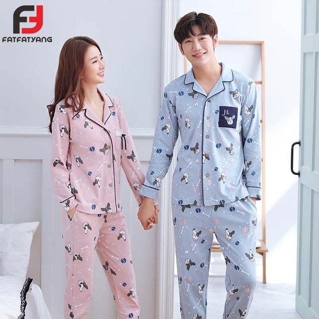 26e6e6e9ab58 Young Lovers Pajamas Sets Women Men Nightwear Casual Cute Dogs Print  Homewear Pyjama Couple Pijama Set Sleepwear Top+ Pants Suit
