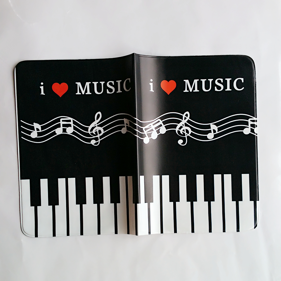 Black White Piano Keys Passport Holder Id Card Holder 3d Design Pvc