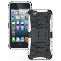Foldable Kickstand Case For IPod Touch 5 Shockproof Heavy Rugged PC TPU Dual Layer Armor Cover