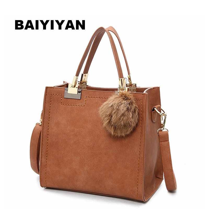 2017 New Arrival fur ball Women Handbag Fashion Matte Leather Shoulder Bag Small Flap Casual Cross Body Bag Retro Tote