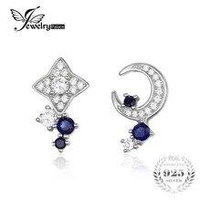 JewelryPalace Lune & Star 0.8ct Créé Sapphire Boucles D'oreilles 100% Réel 925 Sterling Argent Fin Accessoires Simple Bijoux