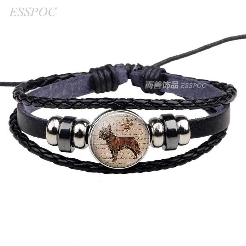 Buldogue francês botão cúpula de vidro preto pingente jóia do cão de malha de couro pulseira acessórios de moda presente romântico