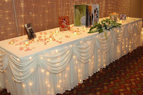 Wedding table skirting hotel table skirt dining table for Table 6 kemble inn