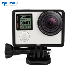 Image 3 - QIUNIU para Gopro marco de protección estándar montaje + lente UV + tapa de lente de cámara cubierta + soporte Base + soporte de Kit de tornillos para Go Pro Hero 3 3 + 4