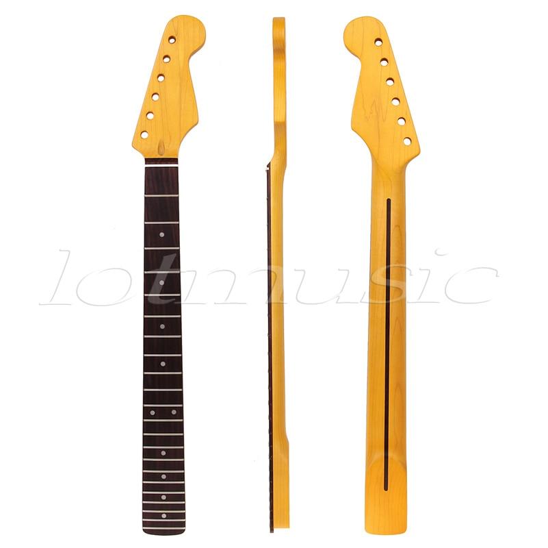 Jaune 22 Frettes D'érable Guitare Touche Palissandre Pour Guitare Électrique Pièces De Rechange