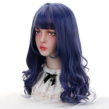 "22""Synthetic Long Wavy Cosplay Lolita Wig With Bangs Blue Hair Wigs Japan Harajuku Cosplay Costume Wigs For Women Heat Resistant(China)"