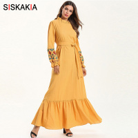 Siskakia Sweet Ladies Elegant Long Dress Yellow Lace Stand Collar Long Sleeve Maxi Dresses Cotton Linen Ruffle Draped Hem Ethnic