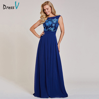 Dressv Dark Royal Blue Long Evening Dress Cheap Scoop Neck Sleeveless Appliques Wedding Party Formal Dress