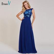 d0e85788483117 Dressv donker koningsblauw lange avondjurk goedkope hals sleeveless  applicaties wedding party formele jurk avondjurken(China