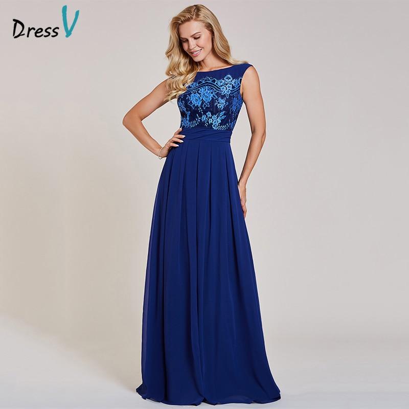 Dressv dark royal blue long   evening     dress   cheap scoop neck sleeveless appliques wedding party formal   dress     evening     dresses
