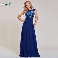 Dressv Dark Royal Blue Long Evening Dress Cheap Scoop Neck Sleeveless Appliques Wedding Party Formal Dress