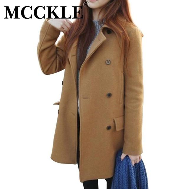 MCCKLE женщина Мода полушерстяные пальто плюс размер женщин основной пальто новый стиль дамы теплый сгущает длинное пальто куртка женщин пиджаки