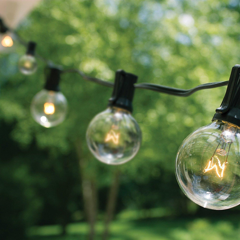 Luz de cadena de Navidad estilo europeo G40 con cable negro 25 pies - Iluminación de vacaciones