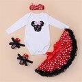 2016 осень комплект одежды микки минни характер полные вершины красный горошек платье детская обувь Hairband 4 шт. мода новорожденных девочек установить