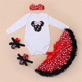 2016 Autumn Clothing Set Mickey Minnie Character Full Tops Red Polka Dot Dress Baby Shoes Hairband 4Pcs Fashion Baby Girls Set