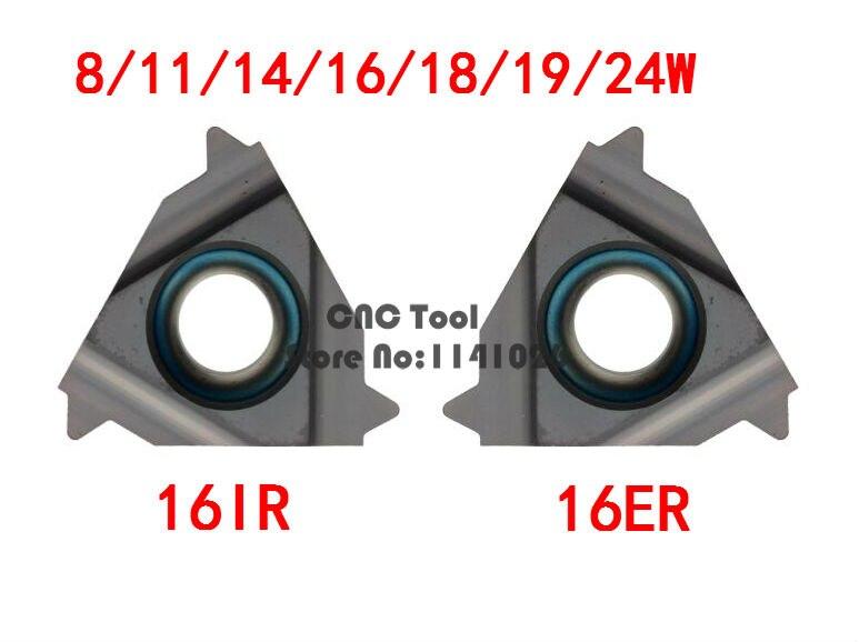 10PCS 16ER 16IR 8/11/14/16/18/19/24W, Tungsten Carbide Turning Threading Insert  British Standard 55 Degree Balck Coating