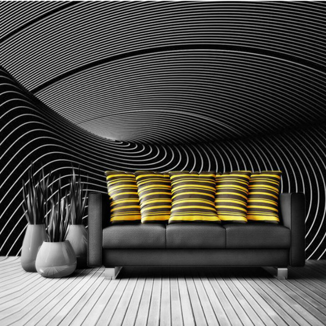 Modern Black And White Tone 3D Wallpaper For Walls 3d Abstract Decorative Painting Wall Murals