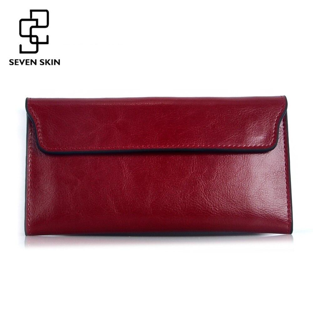 e896f201eae Famous Brand 2018 Genuine Leather Women Wallet Long Purse Vintage Solid  Cowhide Multiple Cards Holder Clutch