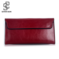 Famous Brand 2018 Genuine Leather Women   Wallet   Long Purse Vintage Solid Cowhide Multiple Cards Holder Clutch Carteira Feminina