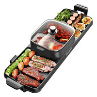 New Cooking Baking Integrated Pot Double Control Korean Multi Cooker Electric Baking Pan Oven Barbecue Hot Pot Soup Pot
