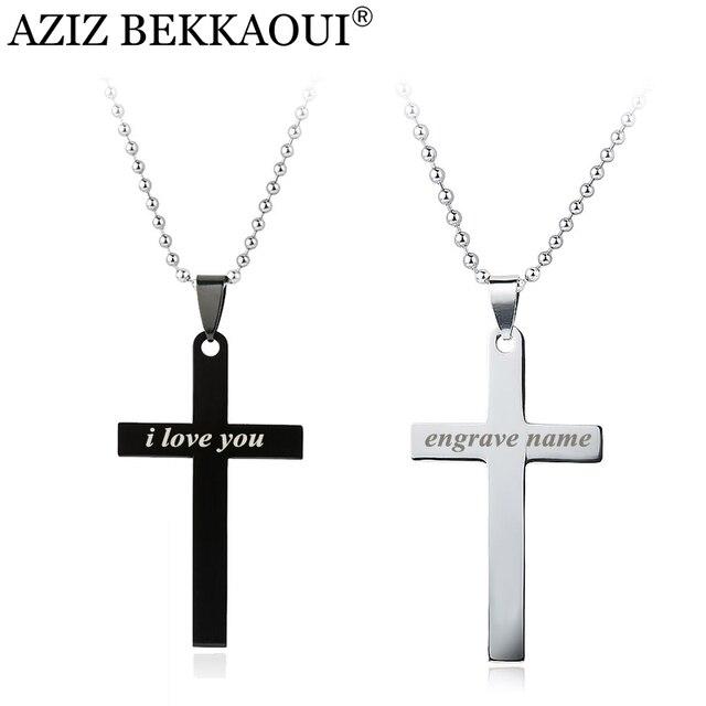 Aziz bekkaoui customized logo cross necklace titanium stainless aziz bekkaoui customized logo cross necklace titanium stainless steel necklace men women fashion jewelry necklace pendant mozeypictures Choice Image