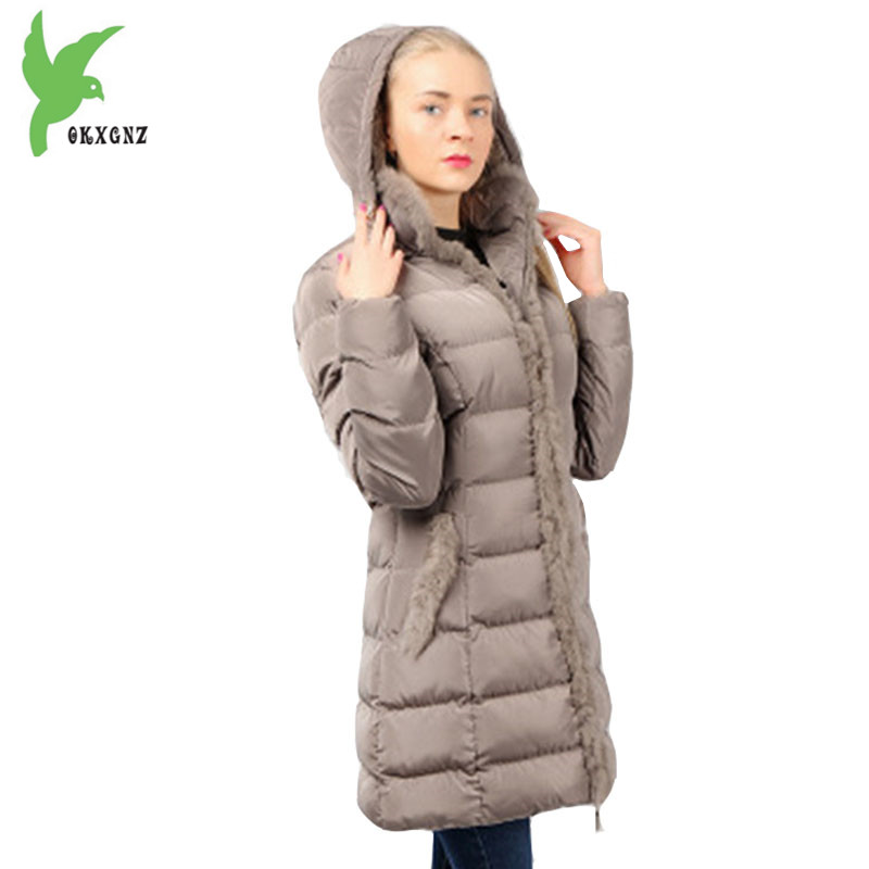 New Women winter cotton jacket coat Flocking warm parkas Plus size Hooded Jacket Rabbit fur collar Medium length coat OKXGNZ1187 2017 winter new clothes to overcome the coat of women in the long reed rabbit hair fur fur coat fox raccoon fur collar
