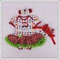 Primera navidad tutu dress del algodón del mameluco del bebé recién nacido niño trajes de fiesta para las niñas xmas party outfit dress 07