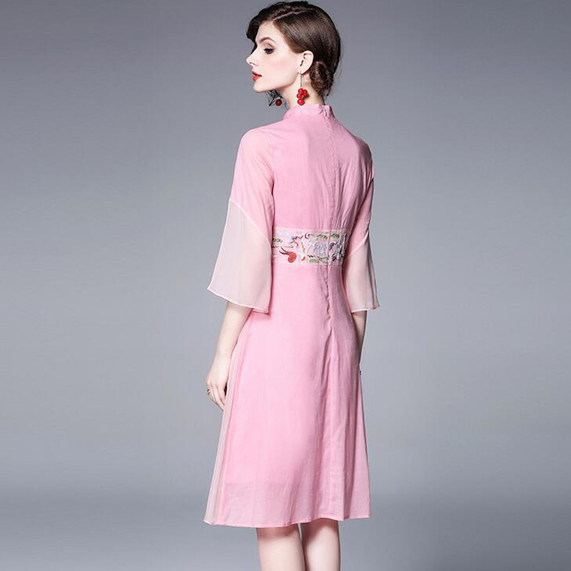 verde Campana Corte turquesa De Rosado línea Bordado Elegante Rosa A Slim La xxl Antigüedad Cheongsam Manga Vestido Vintage final M Mejora xInpvqv