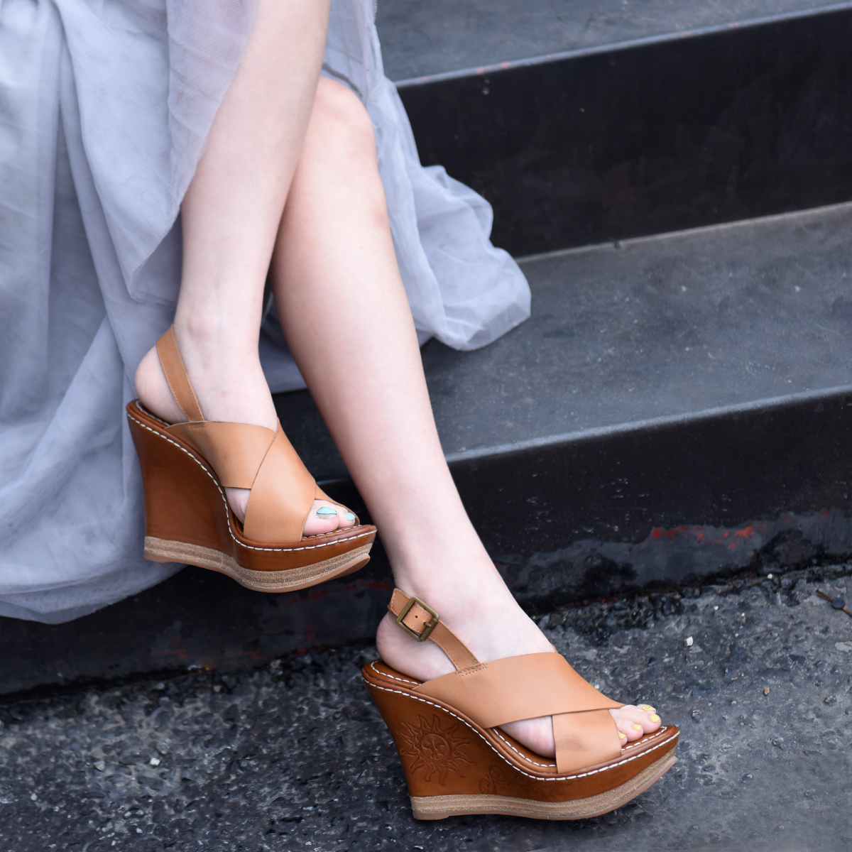 Artmu Original 2019 Summer New Thick Bottom High Heels Women Sandals Elegant Wedge Heels Genuine Leather Handmade Buckle Shoes