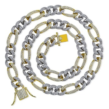 """TOPGRILLZ 10mm  Iced CZ Curb Cuban Link Necklaces Chains Gold Sliver Color Luxury Bling Jewelry Fashion Hiphop For Rapper Men 16""""-30"""""""