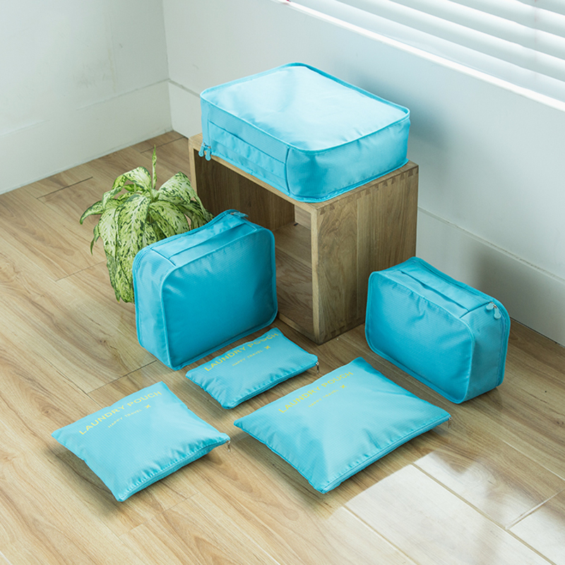 6PCS/Set Casual High Quality Women Travel Luggage Bag Zipper Waterproof Nylon Organizer Packing bag Cube Ladies Travel Bags