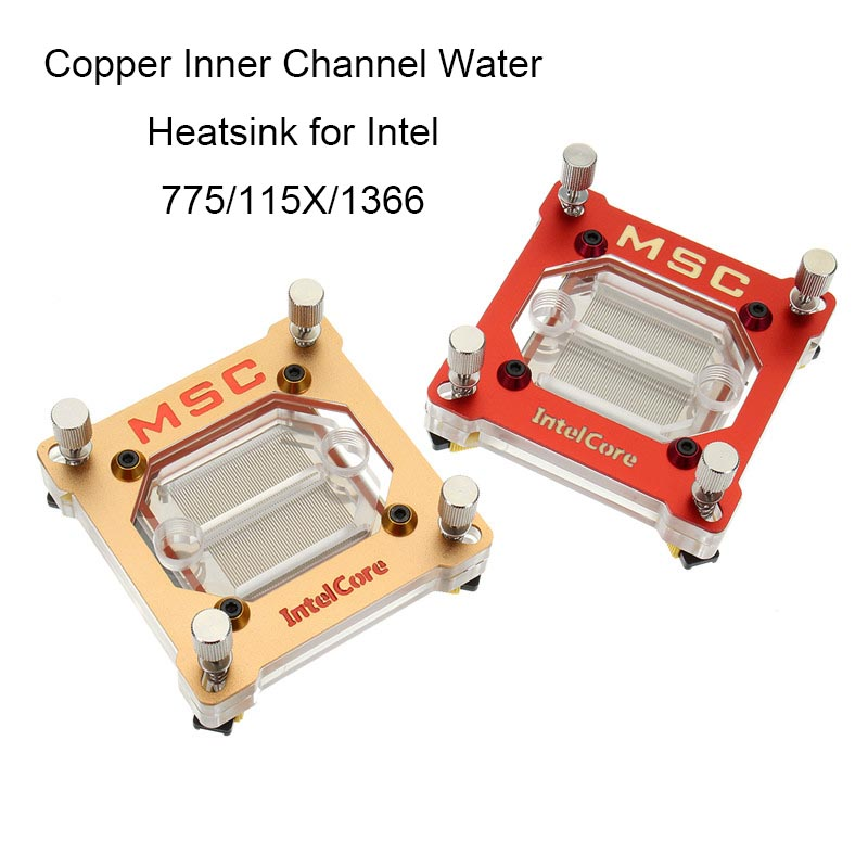 PC Computer CPU Water Cooling Block Liquid Water-cooled Heat Sink Copper Inner Channel Water Heatsink for Intel 775/115X/1366 240mm water cooling radiator g1 4 18 tubes aluminum computer water cooling heat sink for cpu led heatsink heat exchanger