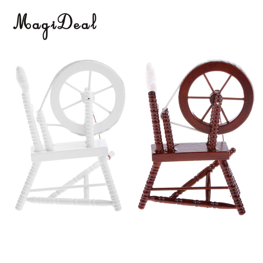 MagiDeal 1/12 Scale Wooden Spinning Wheel Dollhouse Miniature Acce For Office Coffee Room Table Bedroom Decor Classic Kids Toys