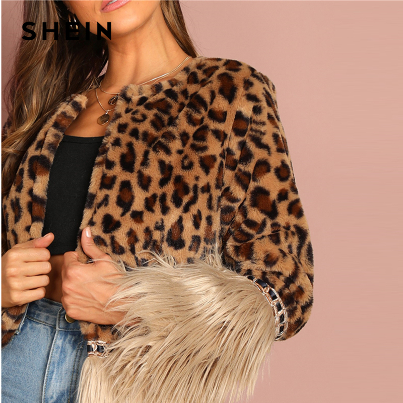 Long Party 2018 Highstreet Leopard Shein Contrast Autumn Multi Casual Outerwear Fur Coat Faux Lady Sleeve Women Multicolor Modern S8w4p