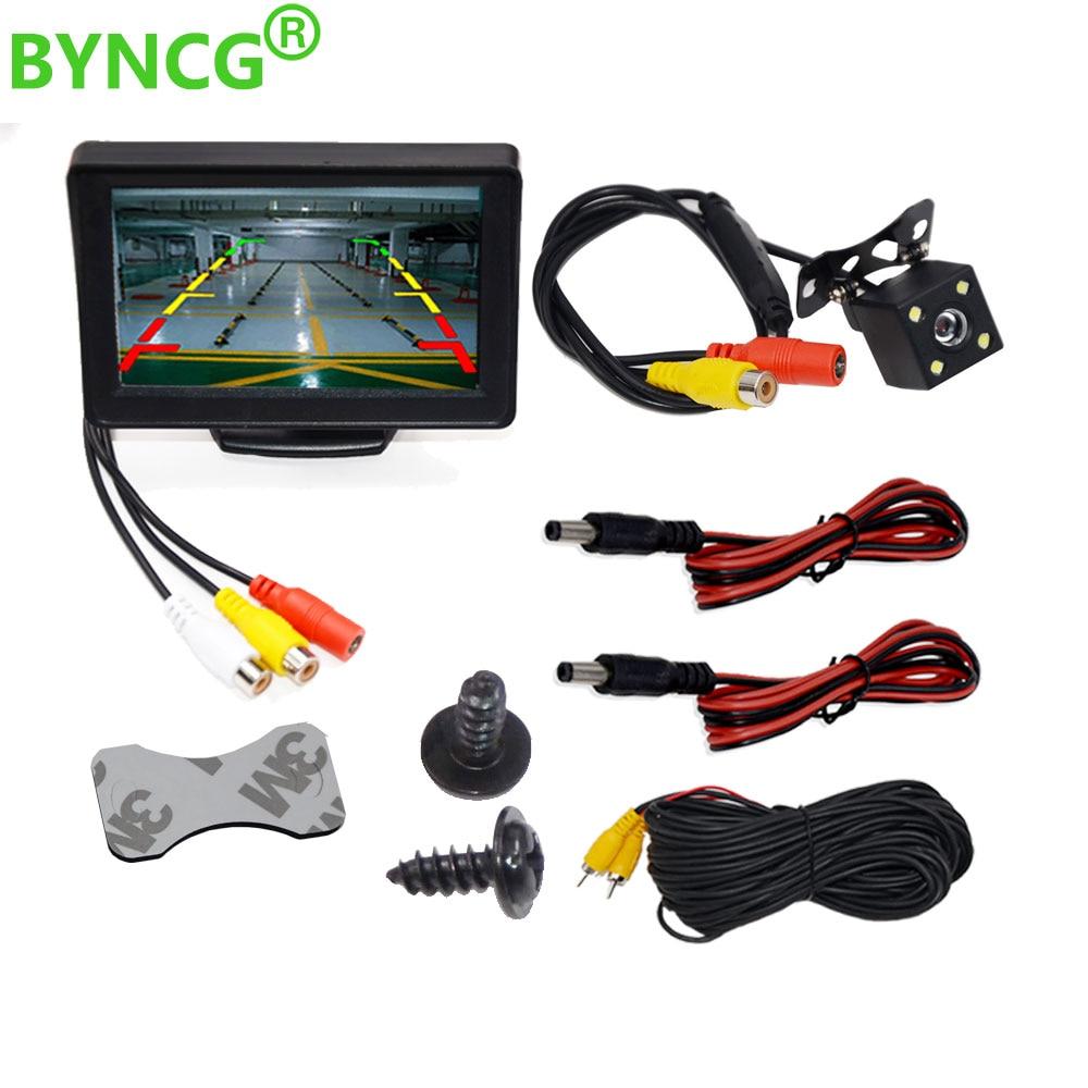 BYNCG 4,3 дюймовый TFT ЖК-дисплей Автомобильный монитор камера заднего вида парковочная система резервного копирования для автомобильных монит...