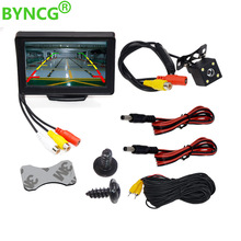 Byncg 4.3 Polegada tft lcd monitor do carro monitor de estacionamento câmera reversa sistema backup para monitores retrovisor do carro ntsc pal