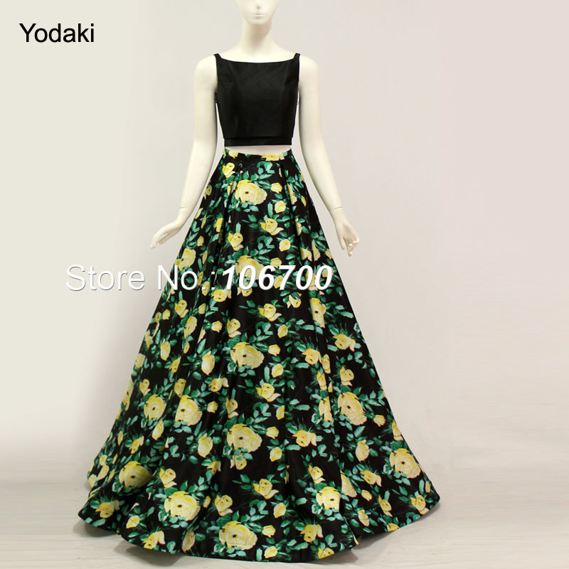 3f09001650a64 US $115.2 10% OFF|2018 Two Pieces Printed Ballgown Prom Dresses Boat Neck  Open Back Pleat Ruched with Pocket Long Black Color Party Evening Gowns -in  ...
