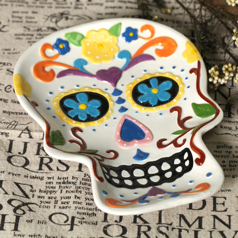 free shipping skull hand painting plate ceramic dish fruit plate salad plate wall decoration home deco - Halloween Ceramic Plates
