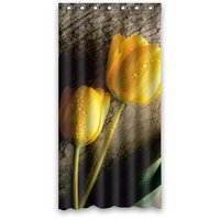 Tulipanes Amarillos encantador Diseño de Fondo de Tela Impermeable Baño Cortina de Ducha de Tamaño: 36x72