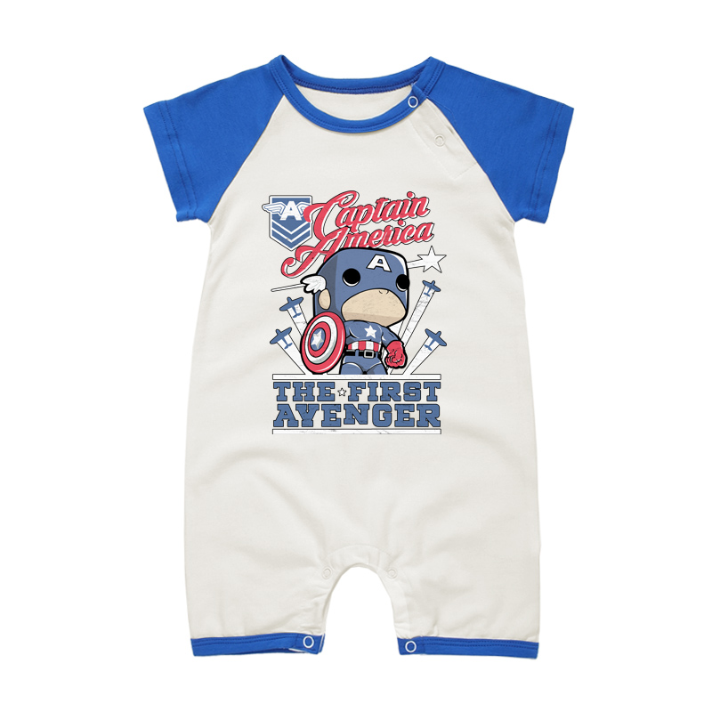 Cute Newborn Baby   Romper   Summer Cotton Short Sleeve Captain America Cartoon Style Infant Babies Boy Girl Clothes Jumpsuit