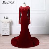 modabelle Lace Beaded Mermaid Evening Dress 2018 Wine Red Robe Longue Soiree Vestido Longo Formal Evening Gowns With Long Sleeve
