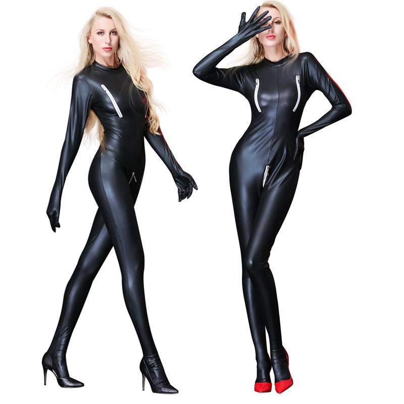 UniseX Plus US 18 20 Size Black Wetlook PVC Catsuit Cross Crotch Zipper Jumpsuit