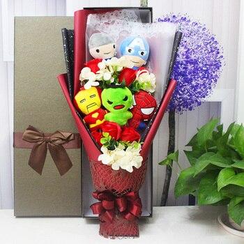 Hot Super Hero The Avengers action figure set Toys Spiderman Captain America Hulk Iron Man plush Toy bouquet gift