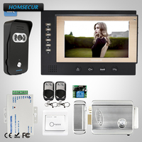 HOMSECUR 7 Video Door Entry Security Intercom Electric Lock+Keys Included: TC021 B Camera (Black)+TM701R B Monitor (Black)