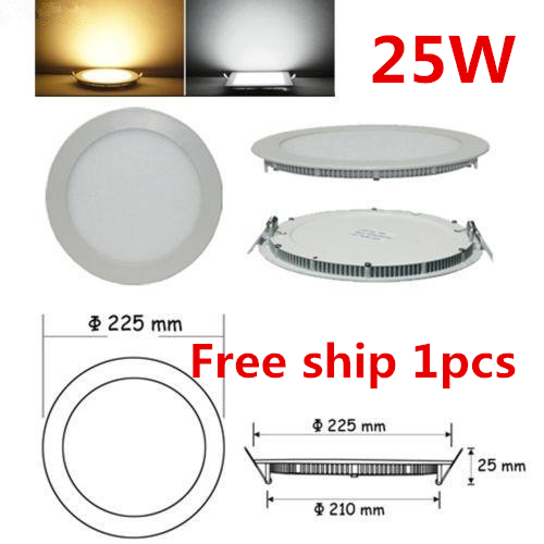 Free shipping 25W led panel lights 2250lm warm white round recessed smd led ceiling spot panels