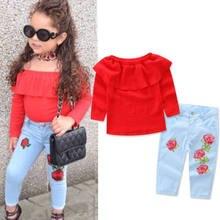 547b1cc85 2019 niño niñas niños fuera de los hombros Tops Denim Floral pantalones  vaqueros 2 piezas conjuntos ropa pulóver traje de sol
