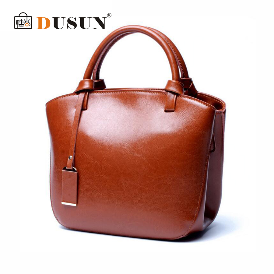 DUSUN New Women Retro Genuine Leather Tote Fashion Simple Handbag Cow Leather Shoulder Bags Female High Capacity Messenger Bag цена и фото