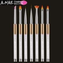 1 set 7 pcs Nail Art Brush Pen Rhinestone Diamond Metal Acrylic Handle Carving Powder Gel Liquid Salon Liner Nail Brush